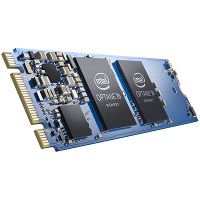 Intel SSD: Optane Memory Series 32GB, M.2 80mm PCIe 3.0, 20nm, 3D Xpoint - Zwart, Blauw