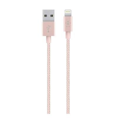 Belkin USB kabel: Metallic Lightning/USB-kabel - Roze