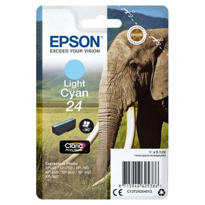 Epson inktcartridge: 24 inktcartridge licht cyaan standard capacity 5.1ml 360 pagina s 1-pack blister zonder alarm - .....