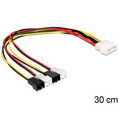 DeLOCK Cable power Molex 4 pin male > 4 x 2 pin fan - Multi kleuren