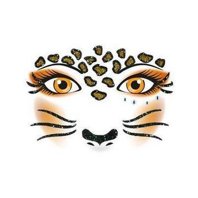 Herma sticker: Face Art Sticker Leopard - Bruin