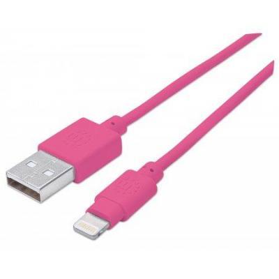 Manhattan USB kabel: 1m, USB 2.0-A/Lightning - Roze