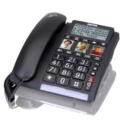SWITEL Alphanumeric phone book, 50 entries, handsfree, LED, 40 dB, 737g, black