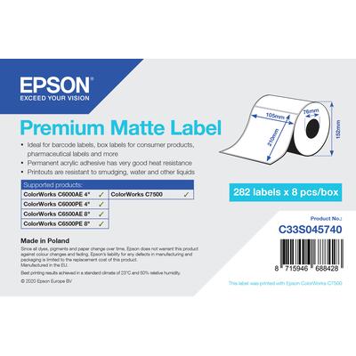 Epson Premium Matte Label - Die-Cut Roll: 105mm x 210mm, 282 labels Etiket