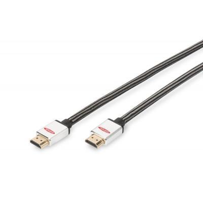 Ednet HDMI High Speed verbindingskabel, type A M/M, 1.0m, w/Ethernet, Ultra HD HDMI kabel - Zwart, Zilver