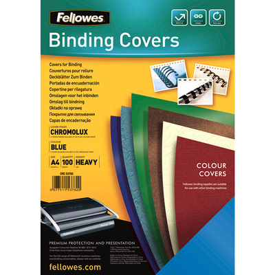 Fellowes binding cover: Chromolux dekbladen glans blauw A4