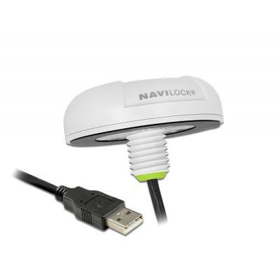 Navilock GPS ontvanger module: GPS/GLONASS/BEIDOU COMPASS/GALILEO/QZSS, -160 dBm, 20 Hz, IPX7, 62 x 21 mm - Wit