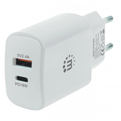 Manhattan Wall Charger (Euro 2-pin), USB-C & USB-A ports, USB-C up to 18W / 3A, USB-A up to 5V / 2.4A, White, .....
