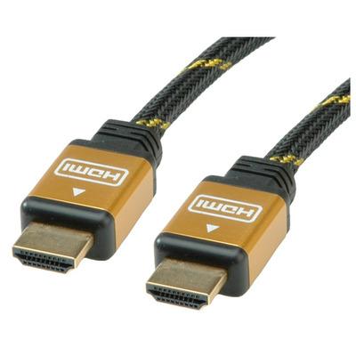 ROLINE GOLD HDMI High Speed Kabel met Ethernet 10,0m HDMI kabel - Zwart, Goud