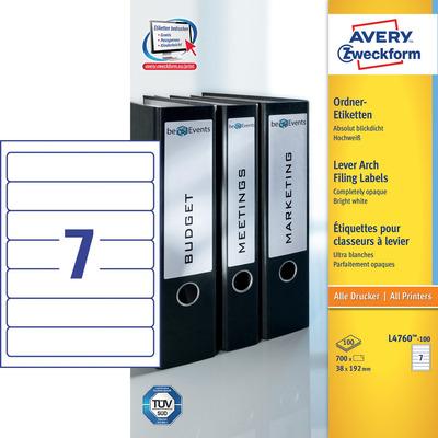 Avery 192 x 38 mm, 700 pcs, A4, wit Etiket