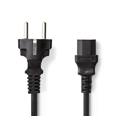 Nedis C13/Schuko, 3x 0.75mm², Ø6.5mm, PVC, 3m Electriciteitssnoer - Zwart