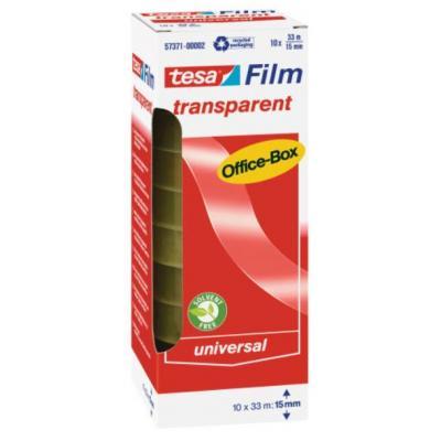 Tesa plakband: 33 m / 15 mm, 10 rollen, office box - Transparant