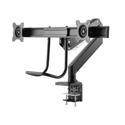 """ICY BOX 2x 32"""", 360° rotate, 10-85mm clamp, VESA Monitorarm - Zwart"""