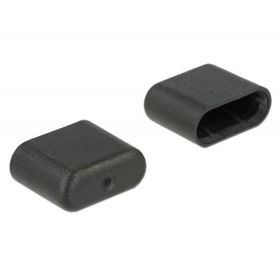 Delock fitting-cove: Dust Cover for USB Type-C male 10 pieces black - Zwart