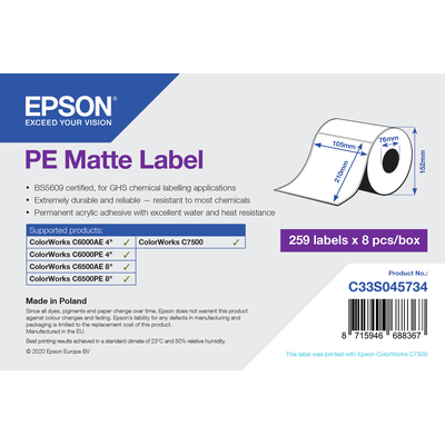 Epson PE Matte Label - Die-Cut Roll: 105mm x 210mm, 259 labels Etiket - Wit
