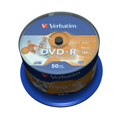 Verbatim DVD-R Wide Inkjet Printable No ID Brand, 16x DVD