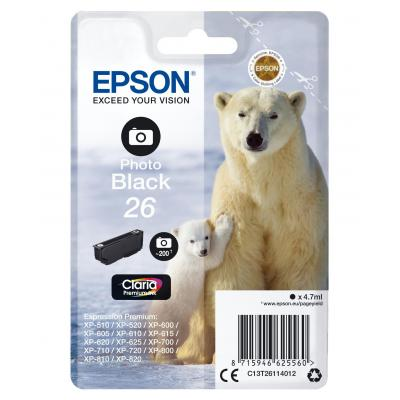 Epson inktcartridge: 26 inktcartridge foto zwart standard capacity 4.7ml 200 photos 1-pack blister zonder alarm