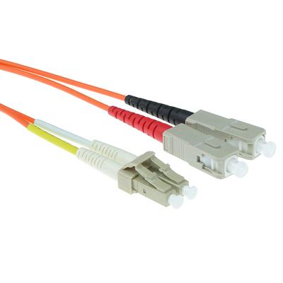 ACT 0,5 meter LSZH Multimode 50/125 OM2 glasvezel patchkabel duplex met LC en SC connectoren Fiber optic kabel