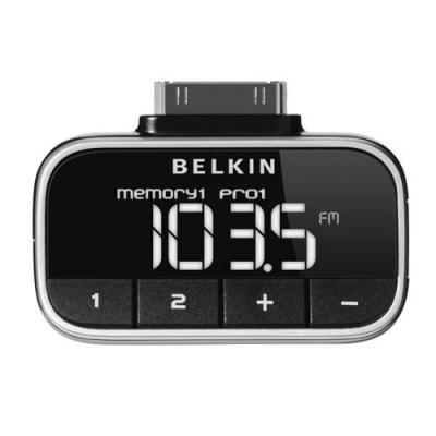 Belkin MP3: Compact & stylish click-in FM transmitter for iPod - Zwart