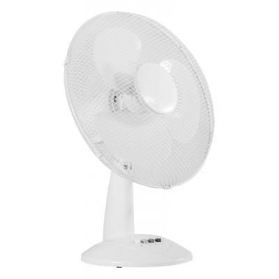 """Valueline ventilator: 16"""" Tafelventilator met 3 snelheidsstanden en oscillatieknop - Wit"""
