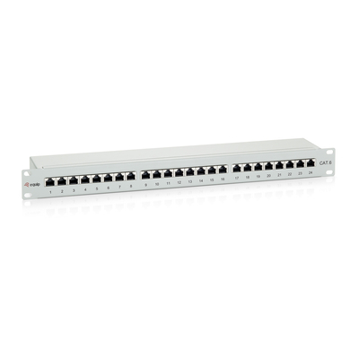 Equip patch panel: 24-Port Cat.6 Shielded Patch Panel - Grijs