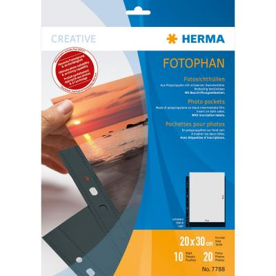 Herma showtas: Fotophan transparent photo pockets 20x30 cm portrait black 10 pcs. - Zwart, Transparant