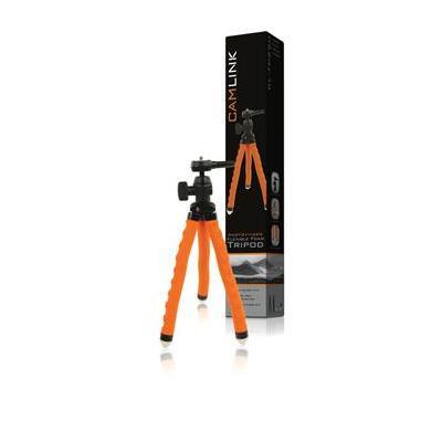 CamLink 275 mm, Metal, Plastic and Rubber Tripod - Zwart, Oranje