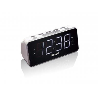 Lenco wekker: PLL FM radio, 1.8'', 2x AAA, USB, 200 x 77 x 80 mm - Zwart, Wit