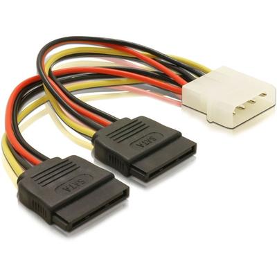 DeLOCK Cable Power SATA HDD 2x > 4pin male - Multi kleuren