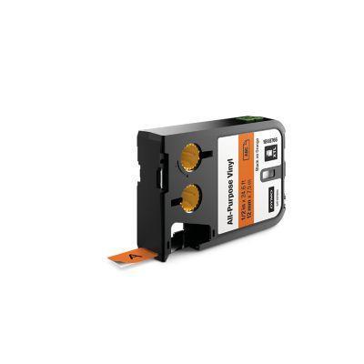 "Dymo labelprinter tape: XTL 1/2"" (12 mm) universeel vinyl, zwart op oranje"