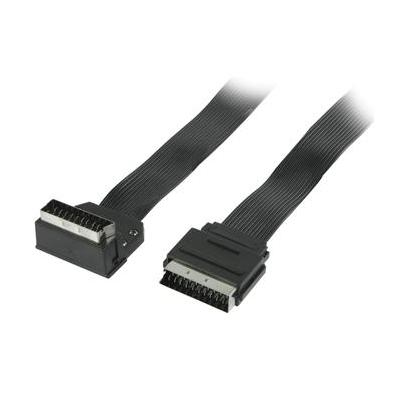 Valueline : Flat SCART cable SCART male - SCART male 270° angled 2.00 m black - Zwart