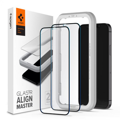 Spigen [2 Pack] iPhone 12 Pro Max AlignMaster Full Coverage Tempered Glass Screen protector - Transparant