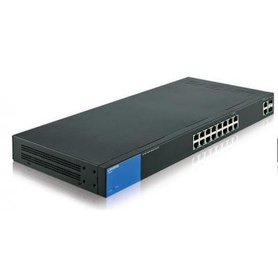 Linksys LGS318P switch - Zwart, Blauw
