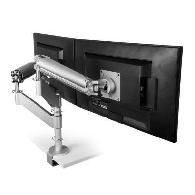 R-go tools monitorarm: Caparo 3 Pro Twin Monitorarm, gasveer, 0-18 kg, zilver
