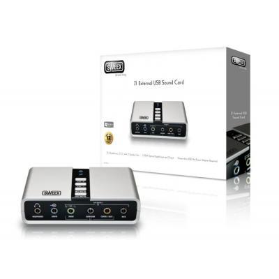 Sweex geluidskaart: 7.1 External USB Sound Card - Zwart, Zilver