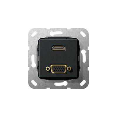 "GIRA Basiselement HDMI ""High Speed with Ethernet"" en VGA 15-polig Verloopkabel, zwart mat Wandcontactdoos"