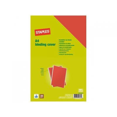 Staples binding cover: Schutblad SPLS A4 gladkarton rood/pk100