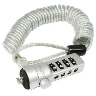 Logilink kabelslot: Laptop anti-theft lock, 1.8 m, Silver - Zilver