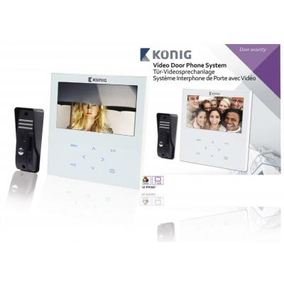 "König video intercom system: CMOS, 4x IR LED, 1x EDS, IP44, F4.5mm, 17.78 cm (7 "") TFT/LCD - Zwart, Wit"