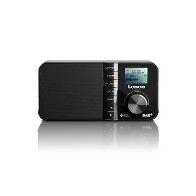 Lenco radio: PDR-03 - PLL FM, DAB+, LCD displa, AC/DC - Zwart