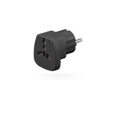 Microconnect Universal adapter black work to UK, US, DK, CH, IT Netvoeding - Zwart