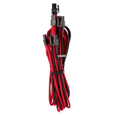Corsair Premium Individually Sleeved PCIe Cables (Dual Connector) Type 4 Gen 4, Red/Black - Zwart,Rood