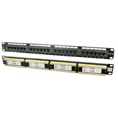 "Logilink patch panel: Patch Panel 19"" CAT6 24-Port - Zwart"