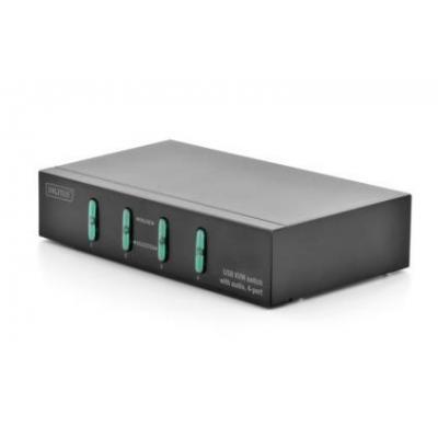 Digitus KVM switch: USB KVM switch with audio, 4-port - Zwart