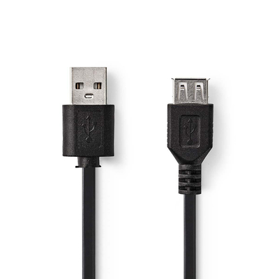 Nedis Kabel USB 2.0, A male - USB A female, 2,0 m, Zwart USB kabel