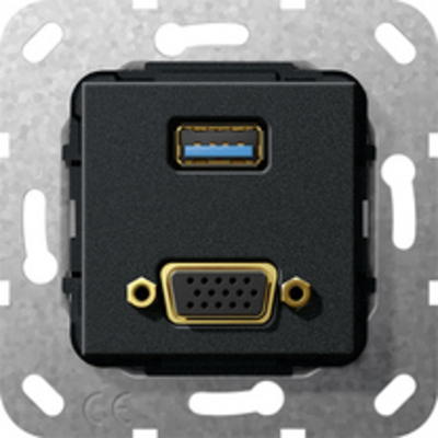 GIRA Basiselement VGA 15-polig en USB 3.0 Type A Verloopkabel wandcontactdoos - Zwart