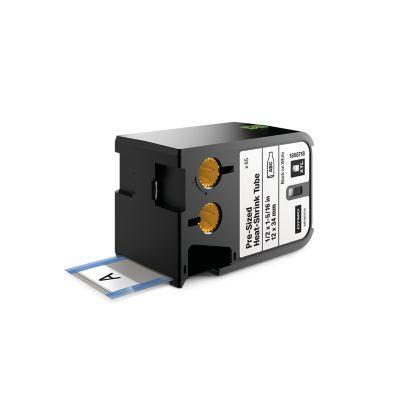 "Dymo labelprinter tape: XTL 1/2"" x 1-5/16"" (12 mm x 34 mm) voorgesneden krimpkous, zwart op wit"