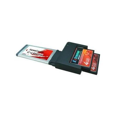 LyCOM EK-112 - ExpressCard/34 Fastest Dual-CF (Truly 2.5Gbps PCIe-Based) Interfaceadapter - Zwart