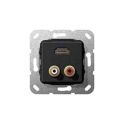 """GIRA Basiselement cinch audio en HDMI™ """"High Speed with Ethernet"""".. Verloopkabel, zwart mat Wandcontactdoos"""