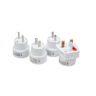 Gembird stekker-adapter: Universele 4-delige reisstekkerset, PBT, 100-240 V AC, 50/60 Hz, 120 g - Wit